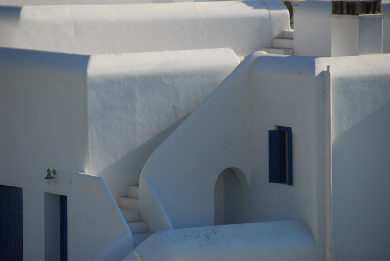 Just amazing architecture - everything white, rounded corners, the blue trim, stairs.  Virtually anything you shoot becomes an astounding picture