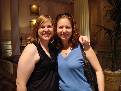 Courtney and Andrea in our Athens hotel lobby