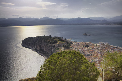 View of Nafplion from Palamidi Castle. Tone Mapped image from HDR image, +2,-2,0 ev.