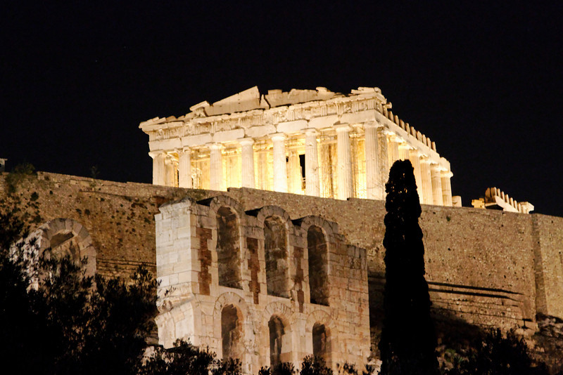 Athens - a flood lit view of the Acropolis and Parthenon.