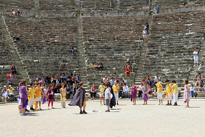 School children preform a play at the theatre in the Sanctuary of Epidaurus.