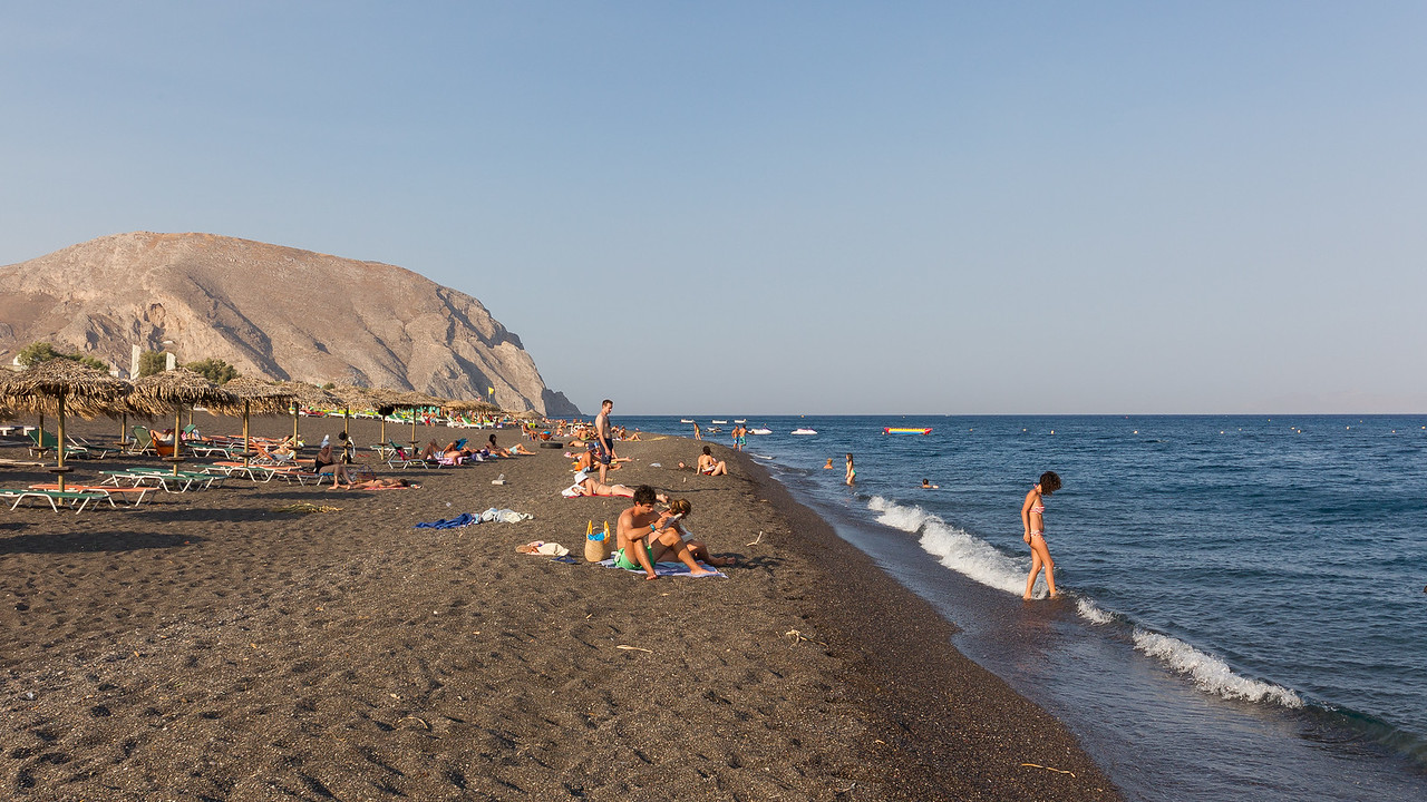 Perissa 'black sand' beach, Santorini