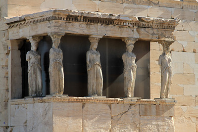 The Porch of the Caryatids on the south porch of the Erechtheion, Acropolis, Athens.