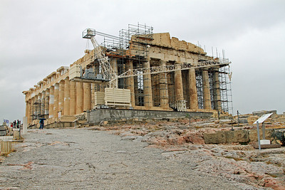 Parthenon, Acropolis, Athens - view from the entrance (at the Propylaia).  Yep, it's a construction zone!