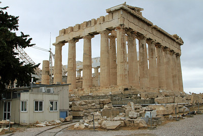 Parthenon, Acropolis, Athens - part of the reconstruction and work sheds.