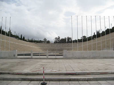 "Site of the first modern Olympics held in 1896.  The modern Athens Marathon commemorates the run of the soldier Pheidippides from a battlefield at the site of the town of Marathon, Greece, to Athens in 490 B.C.  Legend has it that Pheidippides delivered the momentous message ""Niki!"" (""victory""), then collapsed and died. These bench seats are all made of stone."