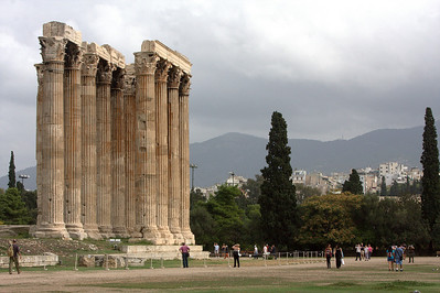 You can get a sense of the scale of the Temple of Zeus with the people around it.