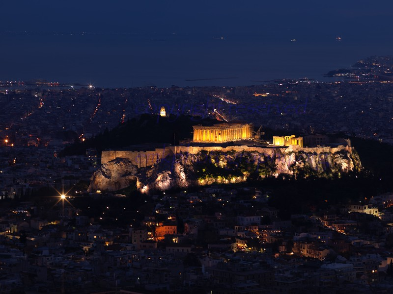 Athens Greece Acropolis<br /> from  Lycavittos Hill