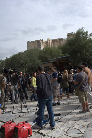 Protest at the Acropolis being covered by the local media.  We couldnt get in to see any of it. I'm still pissed and will be for a long time.