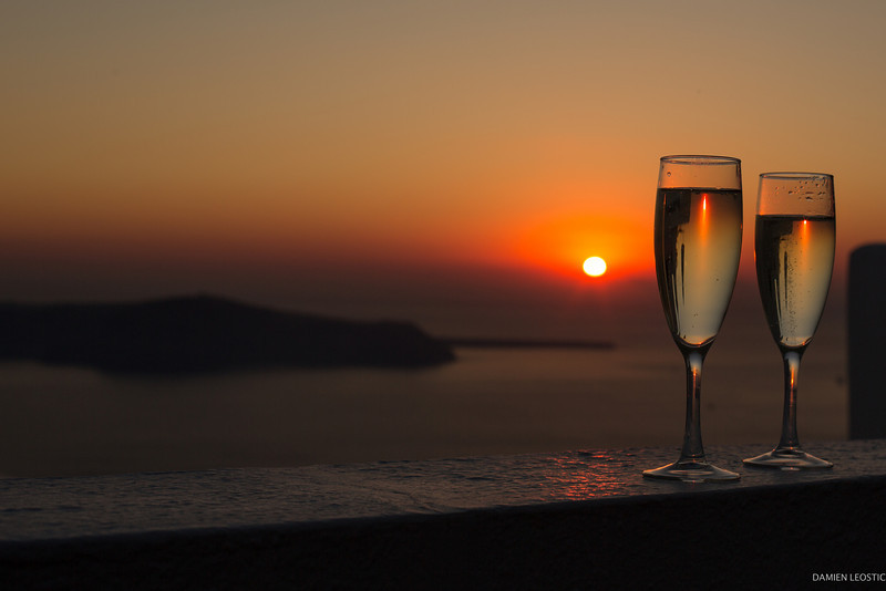 Santorini - Honeymoon cheers!