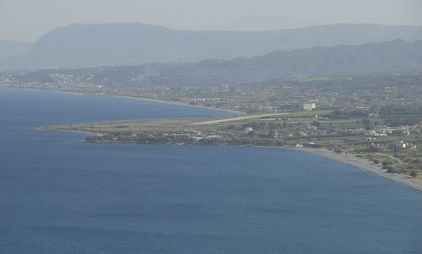 Looking east to Maleme airstrip from west of Kolimbari, Crete, 26 December 2009 2.  A closer look at the airstrip.