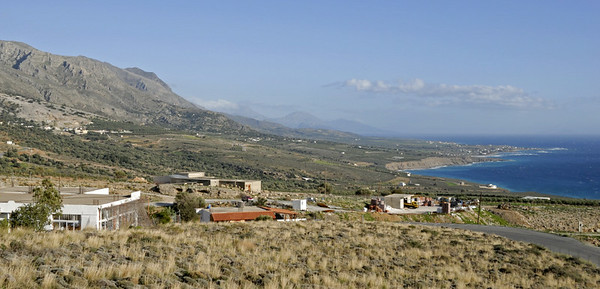The south coast of Crete, near Sphakia, 28 December 2009 1.  Looking east from near the end of the Imbros gorge.