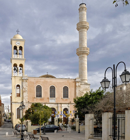 Church of St Nicholas, Chania, Crete, 24 December 2009.     The church was built about 1320 when Crete was ruled by the Venetians.  The Turks converted it into a mosque and built the minaret after their conquest of Hania in 1645.