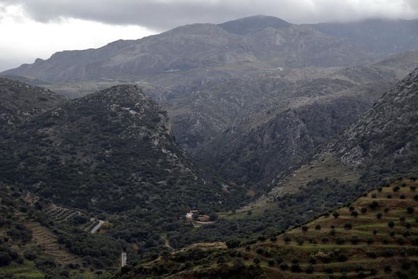 Looking south from Polirinia towards the Tsichliano Gorge, Crete, 23 December 2009