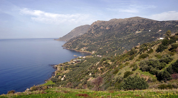 Looking north along the western side of Rodopos Peninsula from near Ravdoucha, Crete, 24 December 2009