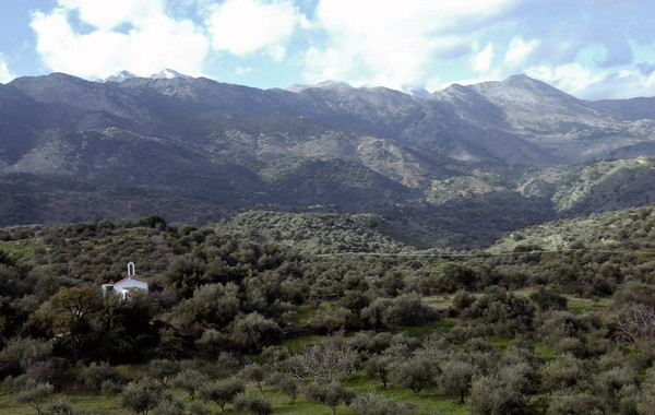 Looking south into the White Mountains from near Vrisses, Crete, 28 December 2009