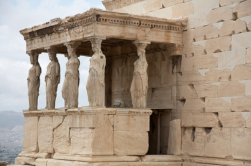 The Erechtheion. The six women columns are actually copies. Five of the originals are in the Acropolis Museum.