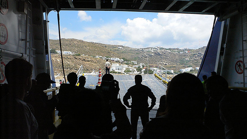 Waiting to disembark from the ferry to Mykonos on Monday afternoon. This is the cargo hold where the cars are also kept.