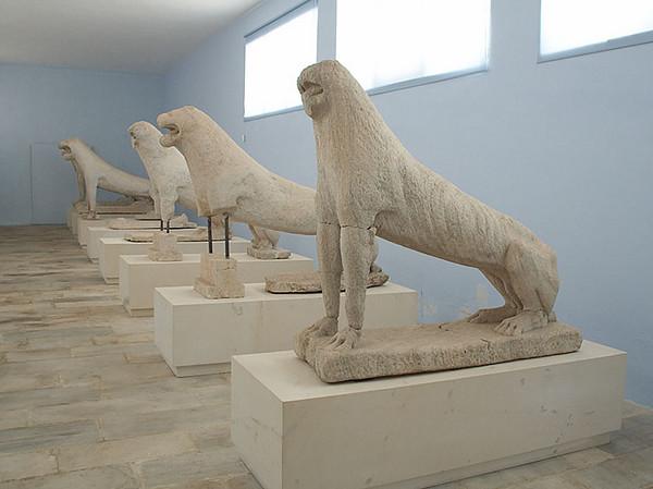 The original lions of the Santuary of Apollo.