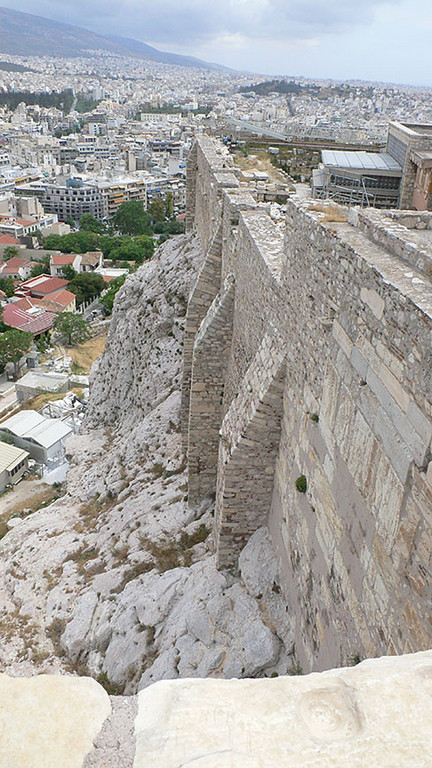 A view of the outer wall of the Acropolis and the city below.