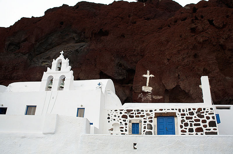 A church near Santorini's Red Beach. To reach the beach, you have to follow a trail up and over a hill.