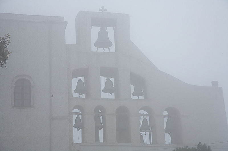 Morti Profiti Ilia, a monastery high atop a mountain. We weren't sure if this was fog or a low lying cloud.