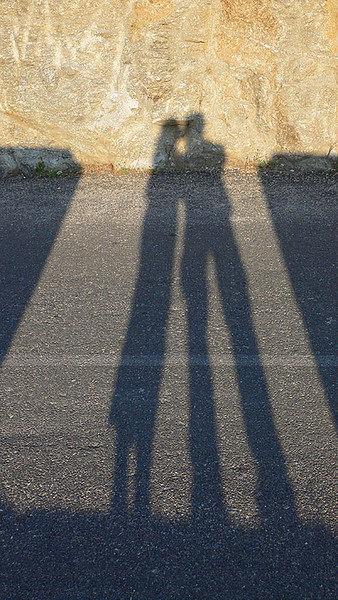 Our shadows in the late afternoon sun.