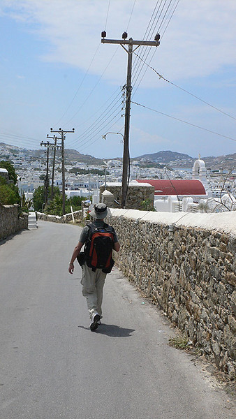 Walking back to Hora to catch our ferry to Santorini.