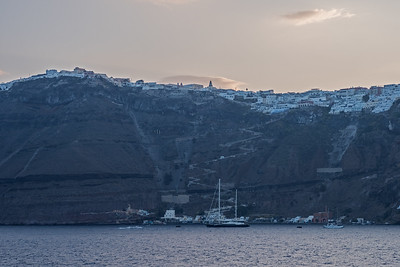 Approaching cliffs of Santorini