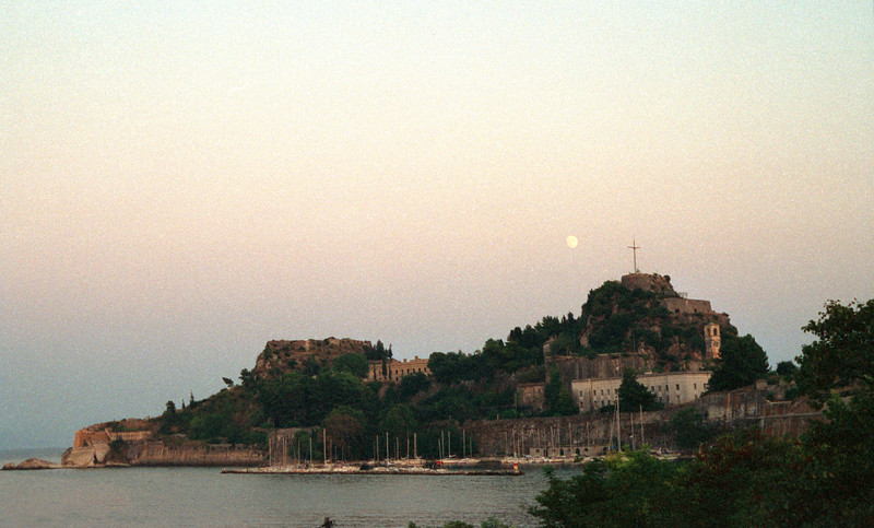 Corfu Town coastline at dusk