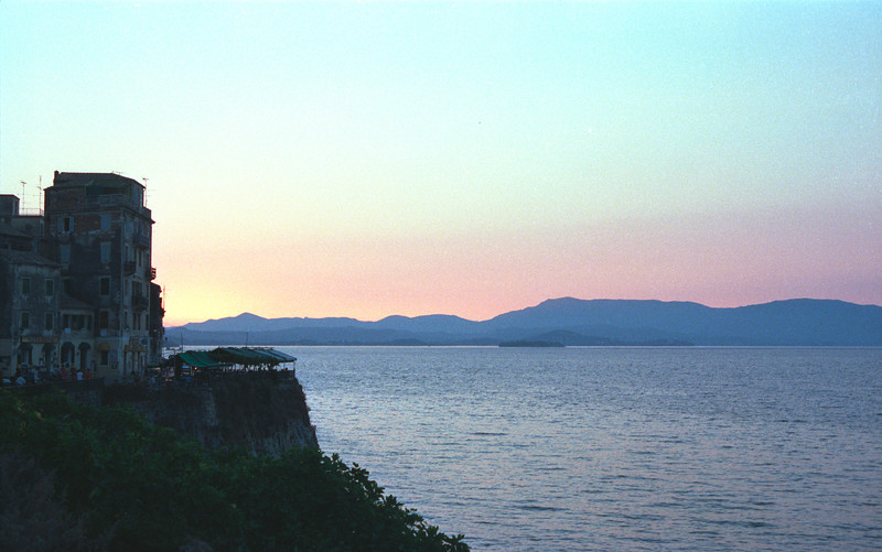 Corfu Town coastline at dusk