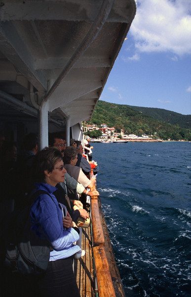 Tourists on boat travelling on the Bosphorus Turkey