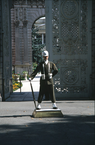 Guard at Imperial Gate Dolmabahce Palace Istanbul