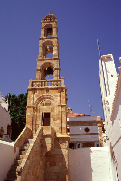 Bell tower of Panagia Church at Lindos Rhodes
