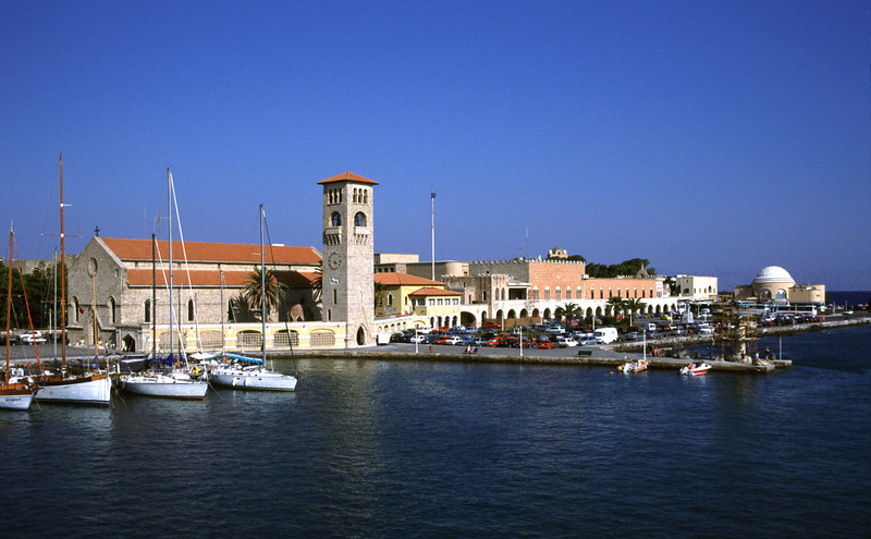 Mandraki harbour Rhodes Greece