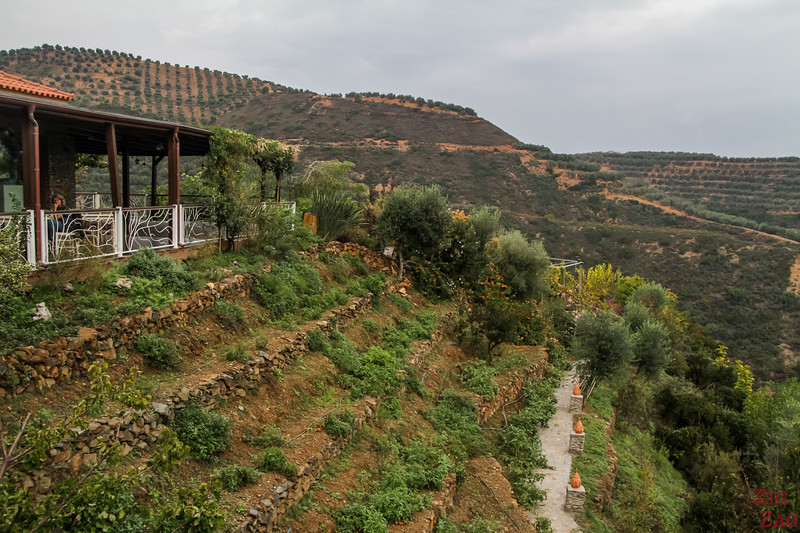 How difficult is the visit of the Crete Botanical Garden - terraces