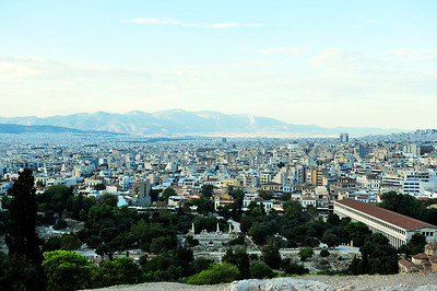 View from Areopagus Hill over the Ancient Agora and Athens beyond.