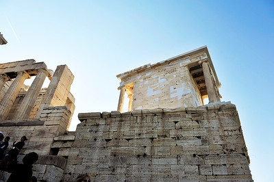 The white marble you see in this monument and others, is part of an on-going restoration / preservation project. Acropolis - Athens, Greece.