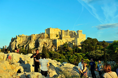 Early evening view of the Acropolis from Areopagus Hill.