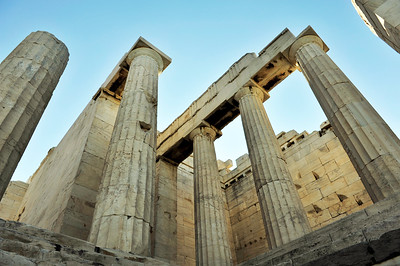 The Propylaia - the grand entrance to the summit temples. Acropolis - Athens, Greece.