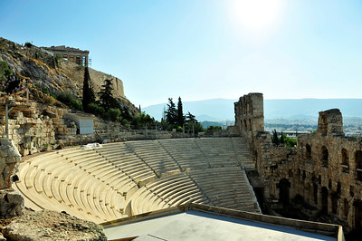 The Herodes Atticus Theater - built in 161 - was reconstructed in the 19th century. Is the host of the Athens festival each summer. Acropolis - Athens, Greece.