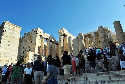 Heading up to the Propylaia - the grand entrance to the summit temples. Acropolis - Athens, Greece.
