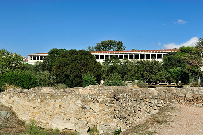 View over the remains of the Odeion (Concert Hall) of Agrippa to the Stoa of Attalos.