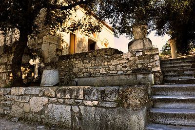 Stairs leading to the Holy Apostles Solaki - Byzantine Church.