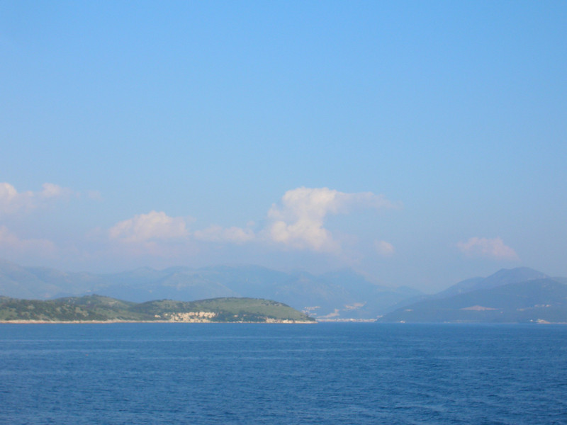 Greece - Ferry to Corfu looking back at Ignoumenitsa April 1 2008
