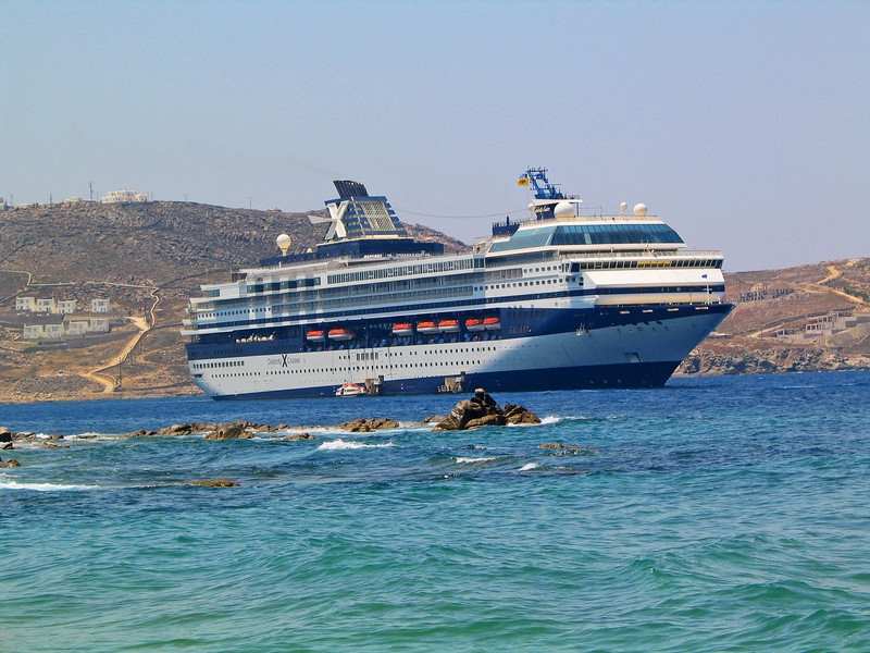 The Celebrity Galaxy, anchored in Mykonos