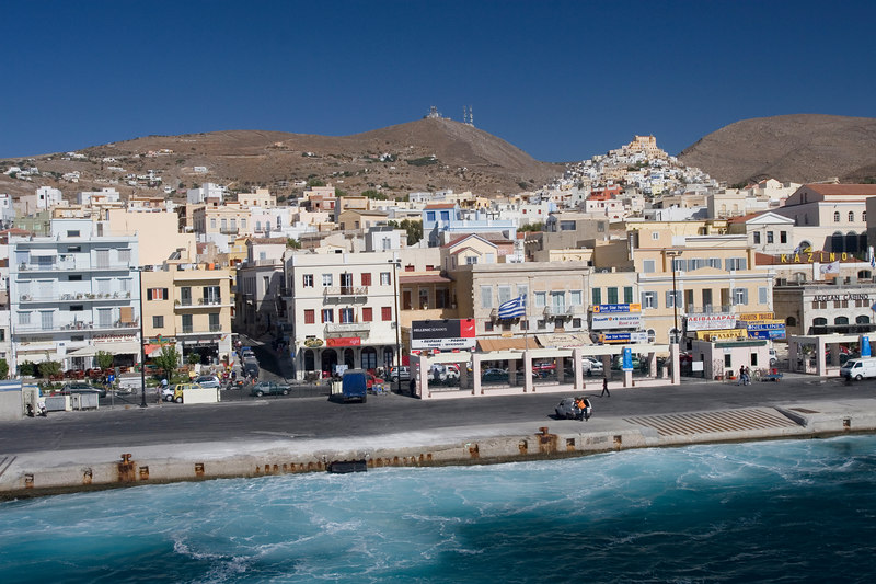 On the way to Mykonos, we pass by this picturesque port town.
