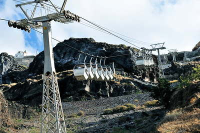 Cable car up the caldera.