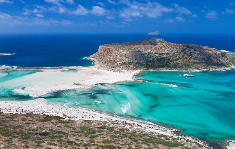 Balos beach by car - view of Tigani island