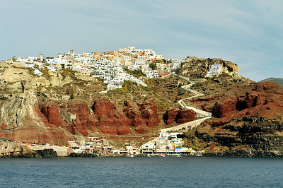 View of  the town of Oia on the cliff top.
